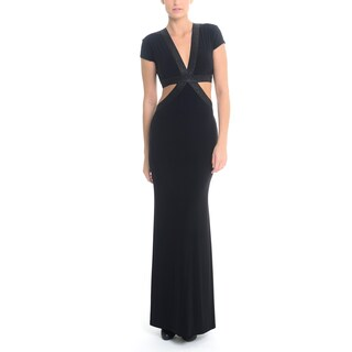 Sentimental NY Women's V-Neck Shimmery Cutout Long Gown