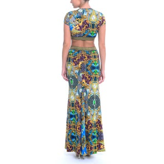Sentimental NY Women's Printed V-Neck Cutout Maxi Gown