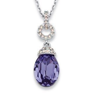 PalmBeach Silvertone Purple Pear Drop Swarovski Crystal Necklace Color Fun
