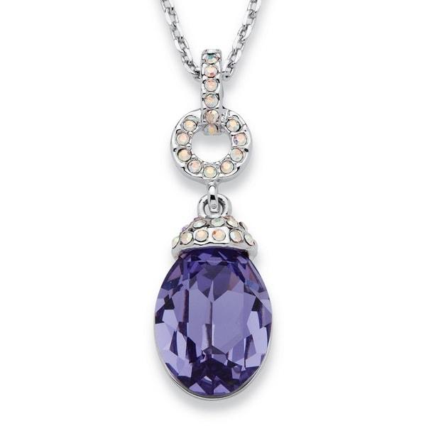 Silvertone Purple Pear Drop Swarovski Crystal Necklace Color Fun