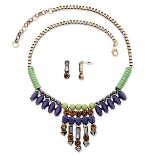 PalmBeach Antiqued Goldtone Multi-colored Crystal and Lucite 2-piece Necklace and Earrings Set Bold Fashion