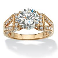 18k Yellow Gold over Sterling Silver 3 3/4ct Round Cubic Zirconia Split Shank Ring Glam CZ