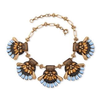 PalmBeach Antiqued Goldtone Brown and Blue Crystal Lucite Open Vintage-style Fan Necklace Bold Fashion