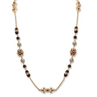 PalmBeach Goldtone Blue Crystal and Simulated Pearl Floral Motif Strand Necklace Bold Fashion