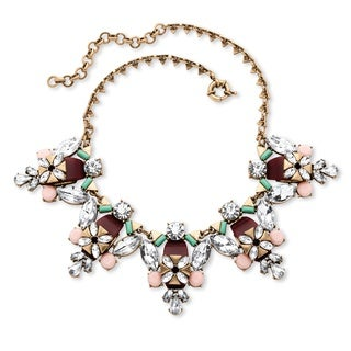PalmBeach Antique Goldtone Multi-colored Crystal and Lucite Statement Triangle-Link Chain Necklace Bold Fashion