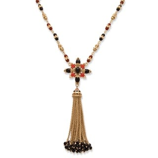 PalmBeach Goldtone Accent Red and Black Bead and Tassel Statement Necklace Bold Fashion