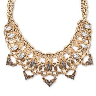 PalmBeach Goldtone Marquise-cut Crystal Geometric Statement Chain Accent Bib Necklace Bold Fashion