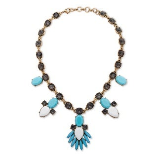 PalmBeach Antiqued Goldtone Blue and White Crystal and Lucite Statement Necklace Bold Fashion