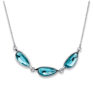 PalmBeach Silvertone Blue Half Moon Swarovski Crystal Necklace Bold Fashion