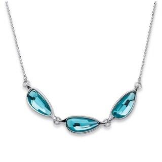 Silver Tone Special - Half Moon Blue, Swarovski Elements Crystal, Multi Stone Link Necklace
