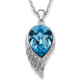 PalmBeach Silvertone Blue Teardrop Swarovski Crystal Angel Wing Necklace Color Fun