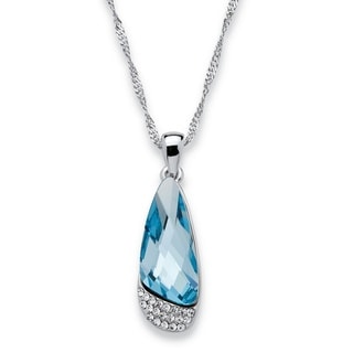 PalmBeach Silvertone Half Moon Blue Swarovski Crystal Necklace Color Fun