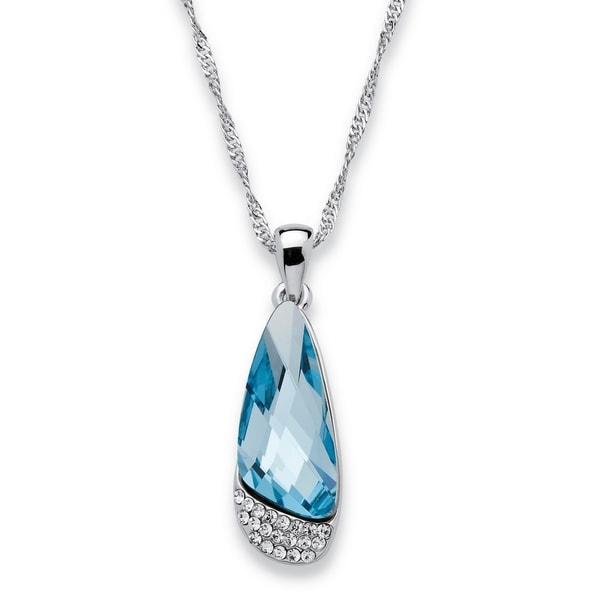 6b2037870d0 Shop Silvertone Half Moon Blue Swarovski Crystal Necklace Color Fun ...