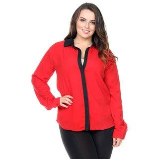 Stanzino Women's Plus Size Colorblock Button Down Shirt
