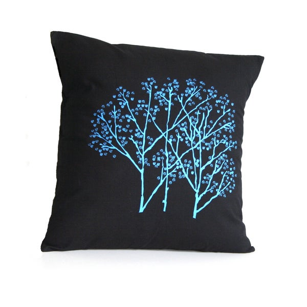 Handmade Forest Frost on Charcoal Pillow (India)