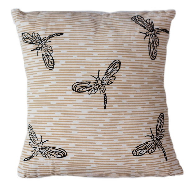 Handmade Dragonflies Throw Pillow (India)