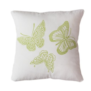 Handmade Butterflies Throw Pillow (India)