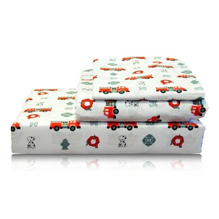 Fire Engine and Puppy Egyptian Cotton Sheet Set