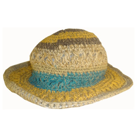 Handmade Hemp Multicolored Wide Brim Wire Summer Hat (Nepal)
