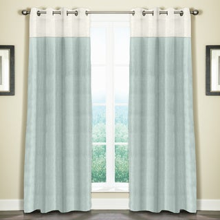 "Grand Luxe Linen Monterey Grommet Curtain Panel 96"" in Mineral Blue (As Is Item)"