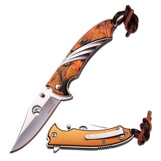 Elk Ridge Spring Assist Knife-Outdoor Camo Coated Alum Inlay