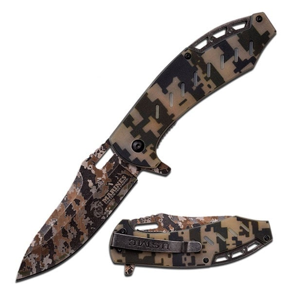 US Marines 5-inch Folder Laser Camo Blade with Digi Camo G10 Handle
