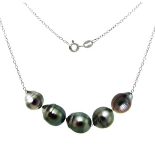 DaVonna Sterling Silver Black Baroque Tahitian Pearl Chain Necklace (8-10mm)