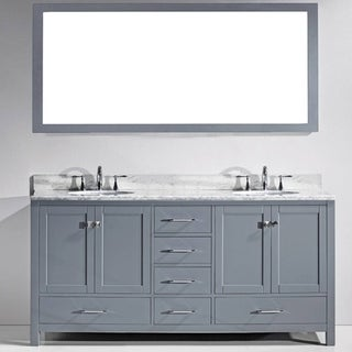 Virtu USA Caroline Avenue 72-inch White Marble Double Bathroom Vanity Set