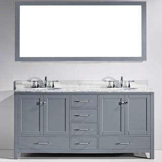 Virtu USA Caroline Avenue 72 Inch White Marble Double Bathroom Vanity Set