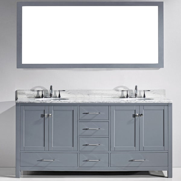Virtu Usa Caroline Avenue 72 Inch Square White Marble Double Bathroom Vanity Set Free Shipping