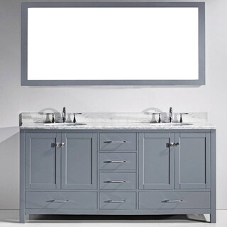 Virtu USA Caroline Avenue 72-inch White Marble Double Bathroom Vanity Set (2 options available)