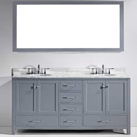 Virtu USA Caroline Avenue 72-inch Square White Marble Double Bathroom Vanity Set