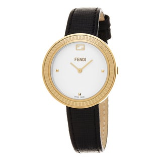 Fendi Women's F354424011 'My Way' White Dial Black Leather Strap Fur Adorned Goldtone Small Swiss Quartz Watch