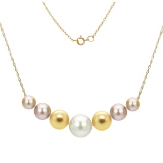 DaVonna 14k Yellow Gold Multi color Freshwater Pearl Chain Necklace (6-10mm)