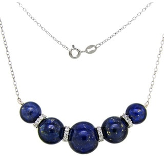 DaVonna Sterling Silver Blue Lapis and Cubic Zirconia Chain Necklace (8-12mm)