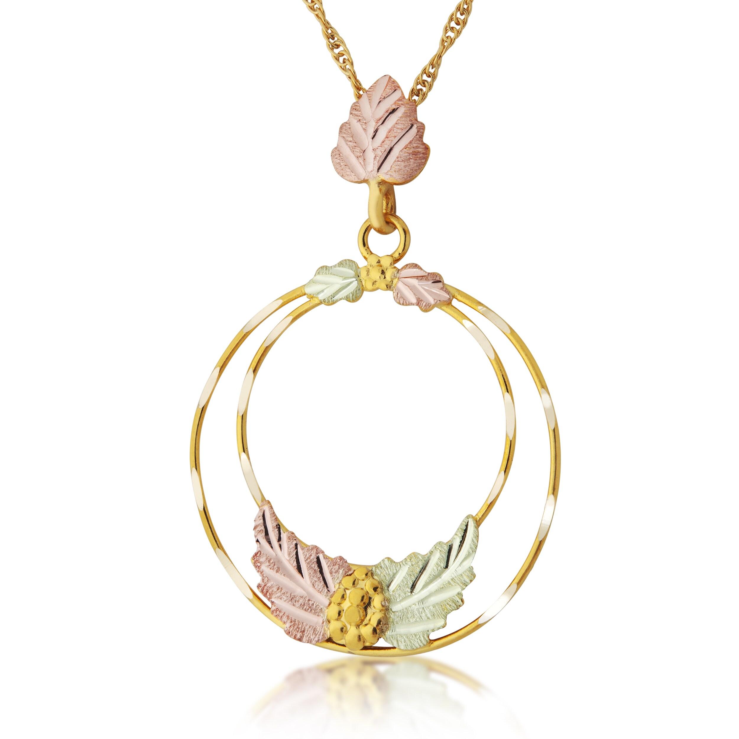 Black Hills Gold Circle Pendant (Gold), Women's, Size: 18...