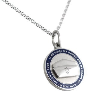 Stainless Steel Blue Enamel Nurse's Prayer Pendant Necklace