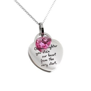 Stainless Steel Heart Granddaughter Pendant Necklace