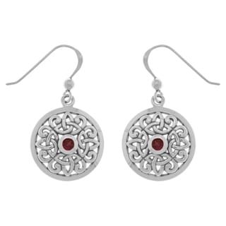 Carolina Glamour Collection Sterling Silver Created Ruby Celtic Knot Round Shield Trinity Dangle Earrings