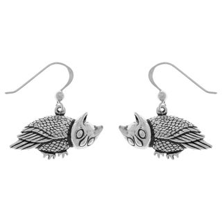 Carolina Glamour Collection Sterling Silver Horned Barn Owl Dangle Earrings