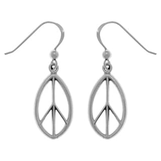Carolina Glamour Collection Sterling Silver Oval Peace Sign Dangle Earrings