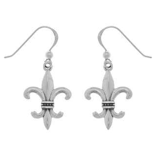Carolina Glamour Collection Sterling Silver Fleur de Lis Dangle Earrings
