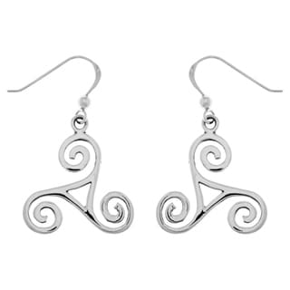 Carolina Glamour Collection Sterling Silver Celtic Spiral Triskele Knot Dangle Earrings