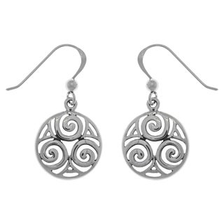 Sterling Silver Celtic Triskele Knot Round Dangle Earrings