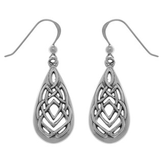 Carolina Glamour Collection Sterling Silver Celtic Knotwork Teardrop Dangle Earrings