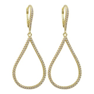 Luxiro Gold Finish Sterling Silver Micropave Cubic Zirconia Teardrop Dangle Earrings - White