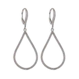 Luxiro Gold Finish Sterling Silver Micropave Cubic Zirconia Teardrop Dangle Earrings