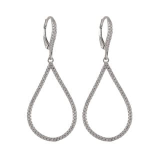 Luxiro Gold Finish Sterling Silver Micropave Cubic Zirconia Teardrop Dangle Earrings