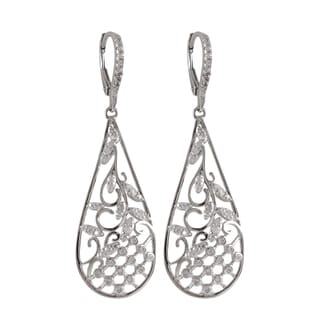 Luxiro Two-Tone Sterling Silver Cubic Zirconia Garden Teardrop Earrings