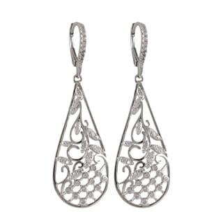 Luxiro Two-Tone Sterling Silver Cubic Zirconia Garden Teardrop Earrings